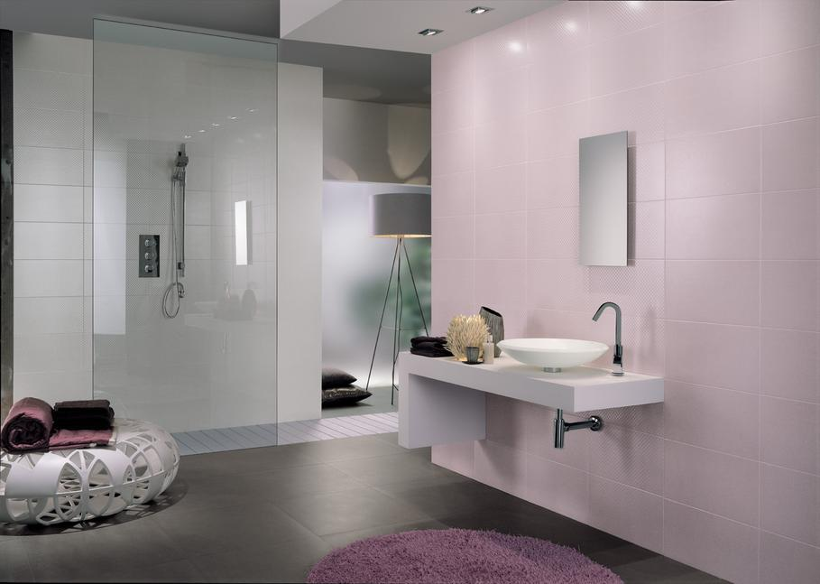 carrelage salle de bain gris et rose. Black Bedroom Furniture Sets. Home Design Ideas